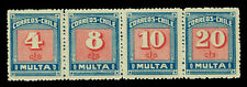 CHILE 1924 Postage Dues - MESIAS 2nd print 4,8,10,20c  Se-tenant strip of 4  MNH