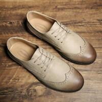 Mens Brogue Casual Shoes Low-Top Wingtip Lace Up British Style Carved Pointy Toe