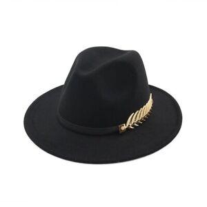Women Ladies Vintage Large Felt Trilby Fedora Jazz Wide Brim Hat Cap Gangster