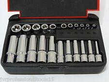 """22-PC 1/4"""" & 1/8"""" DR. Female TORX Socket Set Star Socet E4-E10 E11-E18 Sockets"""