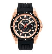 Bulova Precisionist Men's Quartz Rose Gold Tone Accents 46.5mm Watch 98B152