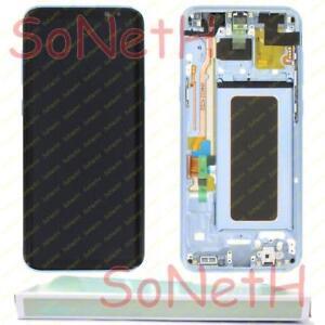TOUCH SCREEN LCD DISPLAY CON FRAME PER SAMSUNG G955U G955W SILVER BLU ORIGINALE