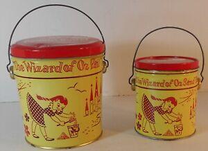 2 Vintage 1950's Swift's Peanut Butter Tin Wizard of Oz Pails 2 lb 2 oz & 5 lb