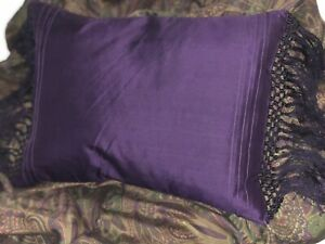 Ralph Lauren Bohemian Paisley Purple Silk Fringed Down Pillow 16x10 NEW Boho