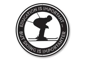 Education is Important But Skiing is Importanter Funny Skier Gift Metal Sign