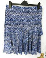 M&CO Petite Size 14 Blue White Aztec Style Print Skirt NEW RRP £29 Frill