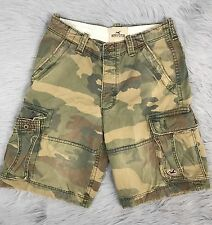 Hollister Men's 32 Camo Cargo Shorts Pockets Camouflage Heavy Weight Distressed