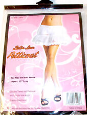 "White Mesh Satin Ribbon Costume Petticoat Underskirt Adult OSFM 15"" NIP"