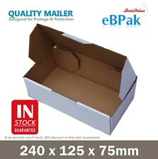 100x Mailing Box 240x125x75mm White Carton 4 Australia POST 500g Prepaid Satchel