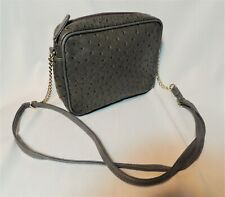 faux ostrich purse, grey, adjustable handle with gold chain accents, very clean