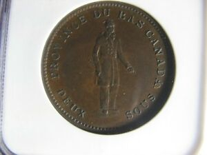 LC-9A3 NGC AU-58 One Penny token 1837 Bas Lower Canada City Bank Breton 521