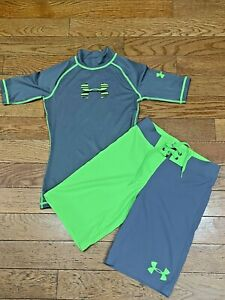 NWOT UNDER ARMOUR Boys Storm Board Shorts Swim & LoTide Rash Guard Sz 23 YMD