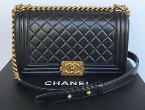 AUTH CHANEL BOY BAG BLACK WITH ANTIQUE GOLD HARDWARE OLD MEDIUM SIZE $5200