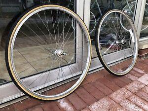 """Vtg 27"""" X 1 1/4 Wheel Set Ukai 36h Freewheel Sansin Hubs Tubes /tires TRUE!!"""
