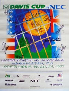 1997 DAVIS CUP SEMI-FINAL  POSTER  U.S.A. v  AUSTRALIA  SIGNED BY THE 8+ PLAYERS