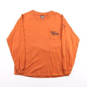 Vintage HARLEY-DAVIDSON  Orange Biker Long Sleeve T-Shirt Mens L
