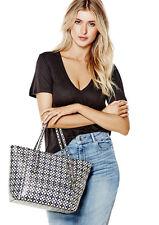 GUESS Delaney Classic Medium Tote Handbag Purse Geo print Blue Multi color