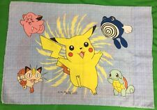 VTG 90's Nintendo Pokemon PillowCase Pikachu Poliwhirl Squirtle Meowth Graphics
