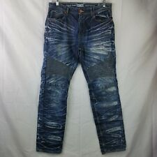 Jordan Craig Jeans Blue Aaron Legacy Distressed Moto Biker Acid Gold Wash 36/32