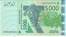 WEST AFRICAN STATES 5000 FRANCS 2018 IVORY COAST P 117. aUNC CONDITION. 7RW 21GE