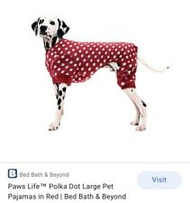 New listing Paws Life Red Polka Dot Pajamas for Dogs Size L Nwt
