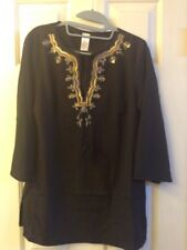 Black Tunic Long Sleeve Blouse w/Sequin Embellished Front Collar Size S (Petite)