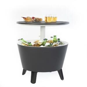 Keter Accent Table Cooler Cool Bar Gray Resin Outdoor Drink Storage Pool Side