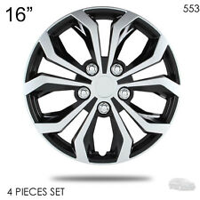 """NEW 16"""" ABS SILVER RIM LUG STEEL WHEEL HUBCAPS COVER 553 FOR KIA"""