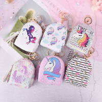 unicorn coin purse pouch mini backpack bag pu leather keychain pouch wallets HU