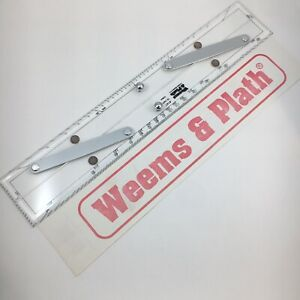 """Weems & Plath 15"""" Parallel Maritime Ruler Brushed Aluminum Arms Protractor #141"""