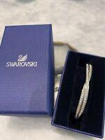 GENUINE Swan Signed SWAROVSKI CRYSTAL Rhinestone White Gold Tone Bracelet