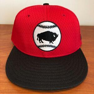 Buffalo BisonS Hat Baseball Cap Fitted 7 1/2 New Era MiLB Minor League Mesh BP