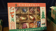 Mix of 12 Vintage Mercury Glass Stripe/Solid Bell Shiny Brite Ornaments in Box