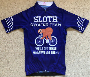 085 New Sloth Cycling Team Jersey Purple Polyester Kids Size M Age 10-12