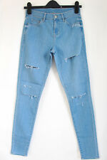 Topshop Moto Blue Leigh Ripped Stretch Skinny Jeans W28 Size10 To Fit L32