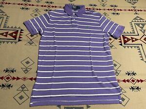 Ralph Lauren Polo Short Sleeve Polo Shirt Purple Striped w/ Green Pony Size L D8