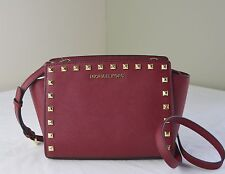 Michael Kors Selma Stud Cherry Red Saffiano Medium Messenger Crossbody Bag