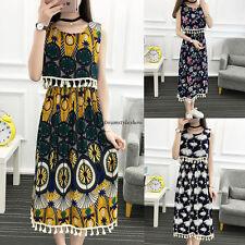 Boho Summer Women Floral Tunic Maxi Empire Waist A Line Slim Long Beach Dress XL