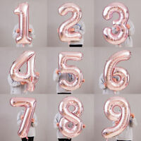 Rose Gold Foil 0-1 NUMBERS Balloon Self Inflating Date Name 0-9 Number Message