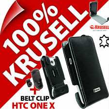 New Krusell Orbit Flex GENUINE LEATHER Flip Case Cover + Belt Clip for HTC One X