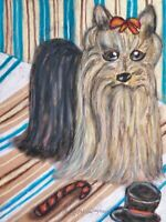 Yorkshire Terrier New Yorkie Original 9x12 Painting by Artist KSams Dog Pop Art