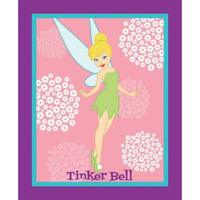 Tinkerbell Quilting Panel Disney Fairy Flowers Glamour Friend on Cotton Fabric