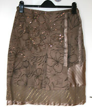 VILA SMALL UK10 EU38 BROWN DECORE MOCK WRAP SKIRT WITH SEQUINS/LUREX - NEW