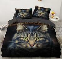 3D Tabby Cat Head ZHUA876 Bed Pillowcases Quilt Duvet Cover Set Queen King Zoe