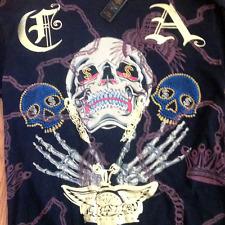 Christian Audigier Skull Multiprint Rhinestone Long Sleeve T-Shirt