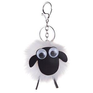 Scottish White Googly Eyes Sheep PomPom Fluffy Scotland Bag Purse Keyring Charm