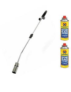 Gas Burner Blaster Weed Wand Blowtorch Garden Torch Weeds Killer & 2 Gas Refills
