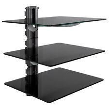 Soporte de pared para reproductores de DVD y receptores 3 estantes tv hifi negro