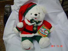 "1995 WalMART CHRISTMAS Snowflake TEDDY BEAR White Boy 22"" With Red Cothes NWT"