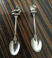 2 Collectors Teaspoons Spoons Collection Antique Vintage Old Engraved